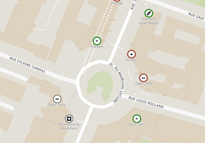 Impression d'écran montrant plusieurs services et/ou commerces en vert, gris et rouge déterminant ouvert, inconnu ou fermé