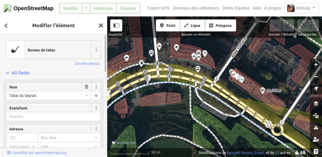 formulaire d'édition d'un lieu dans OSM